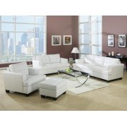 WHITE BONDED LEATHER OTTOMAN Product Image