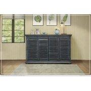 """67"""" Console w/4 push doors, Parota wood, blue finish Product Image"""