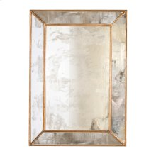 Rectangular Antique Mirror With Gold Leafed Wood Edges.