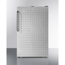 "ADA Compliant 20"" Wide Built-in Undercounter All-refrigerator for General Purpose Use, Auto Defrost With A Lock, Diamond Plate Wrapped Door and Black Cabinet"