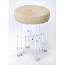 Comfort meets contemporary style that together create a strong focal point and lend a dramatic impression in a room. Combining vintage and glam, this acrylic vanity stool is adorned with soft button-tufted velvet upholstery for plush comfort. The tapered