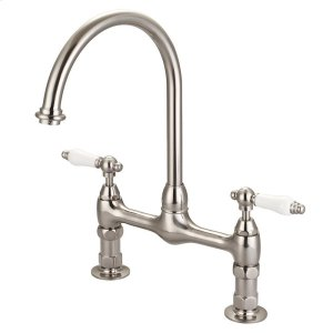 Harding Kitchen Bridge Faucet with Porcelain Lever Handles - Brushed Nickel Product Image