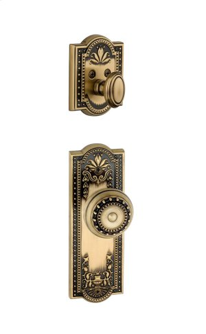 Grandeur - Single Cylinder Combo Pack Keyed Differently - Parthenon Plate with Parthenon Knob and Matching Deadbolt in Vintage Brass Product Image