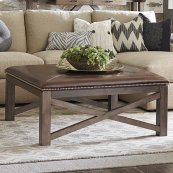 Western Brown Compass Square Ottoman Cocktail Table