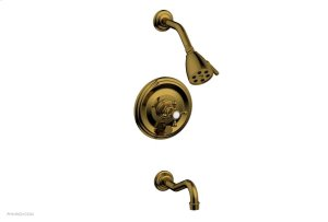 HENRI Pressure Balance Tub and Shower Set - Cross Handle 161-26 - French Brass Product Image