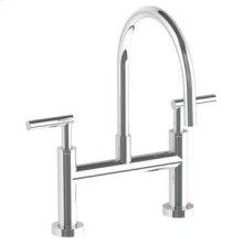 Deck Mounted Bridge Gooseneck Kitchen Faucet