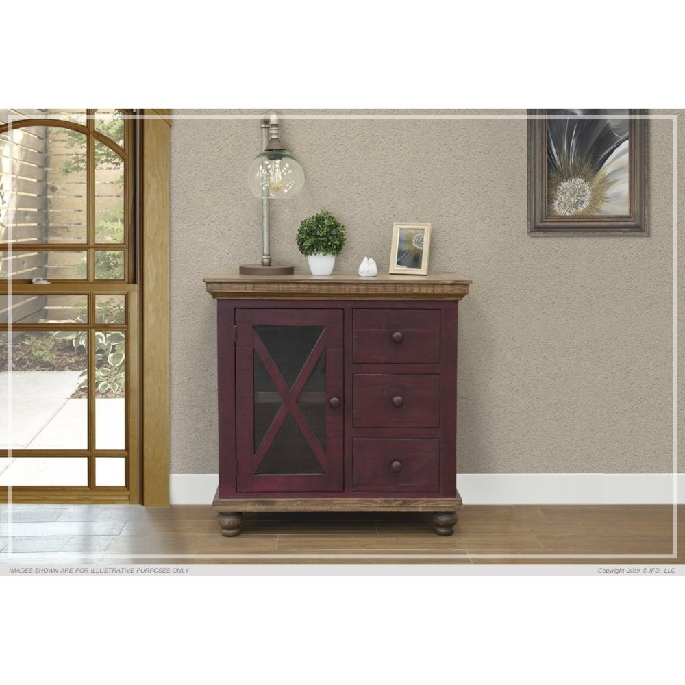 3 Drawer, 1 Door, Red Finish Server