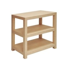 Two Tier Rectangular Natural Grasscloth Side Table