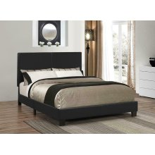Mauve Upholstered Platform Black Queen Bed