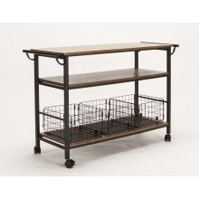 Serving Cart-med Oak W/basket