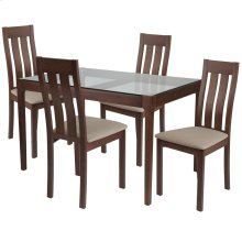 5 Piece Walnut Wood Dining Table Set with Glass Top and Vertical Slat Back Wood Dining Chairs - Padded Seats