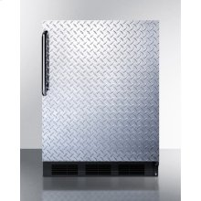 ADA Compliant Built-in Undercounter All-refrigerator for Residential Use, Auto Defrost With Diamond Plate Wrapped Door, Towel Bar Handle, and Black Cabinet