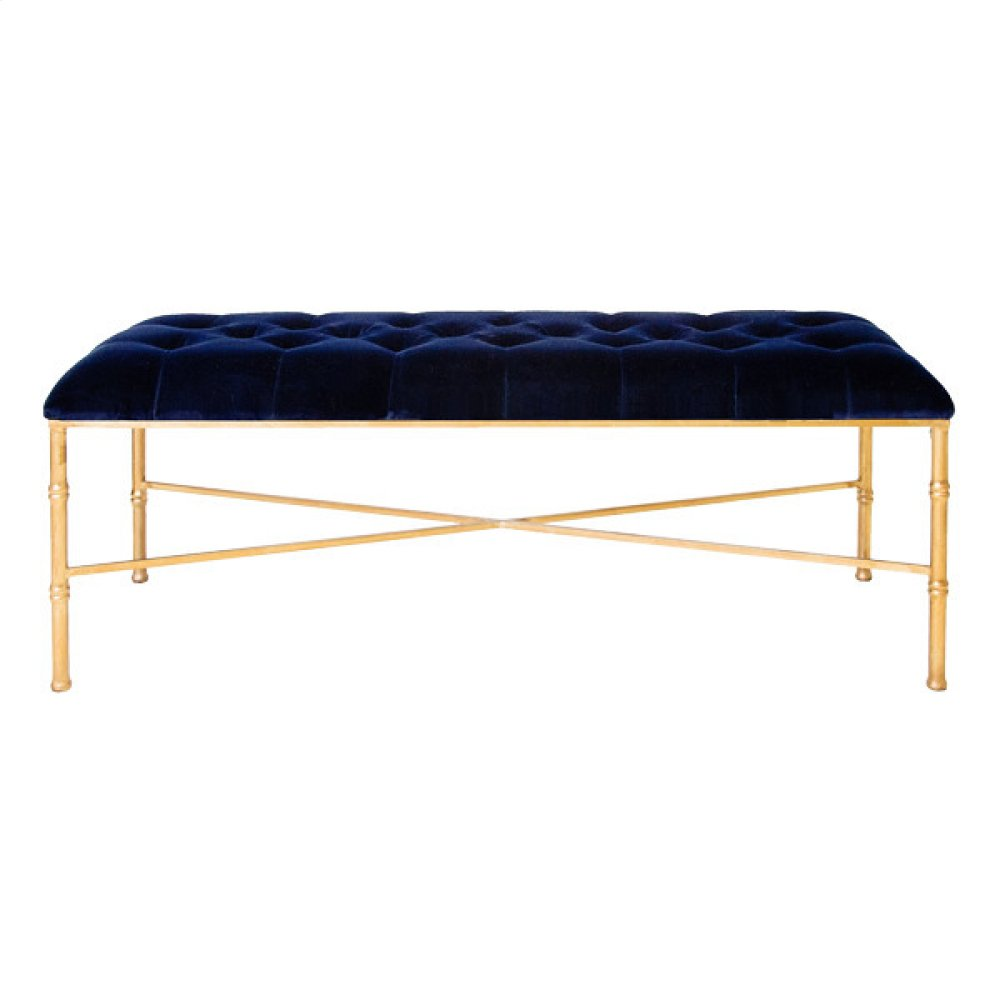 Gold Leafed Bamboo Bench With Navy Upholstered Velvet Seat