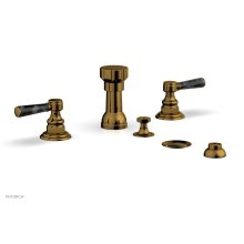 HEX TRADITIONAL Four Hole Bidet Set - Black Marble Lever Handles 500-62 - French Brass
