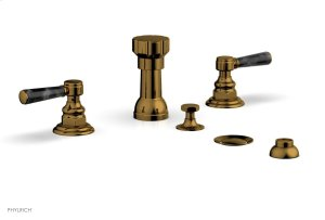 HEX TRADITIONAL Four Hole Bidet Set - Black Marble Lever Handles 500-62 - French Brass Product Image