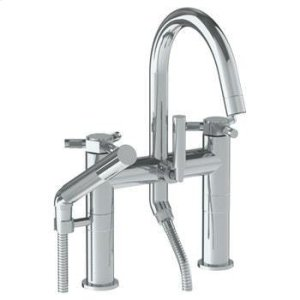 Deck Mounted Exposed Gooseneck Bath Set With Hand Shower Product Image