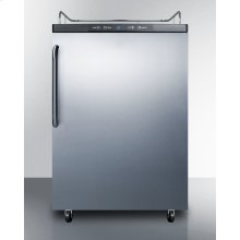 Freestanding Residential Beer Dispenser, Auto Defrost W/digital Thermostat, Ss Door, Towel Bar Handle, and Black Cabinet; No Tapping Equipment Included