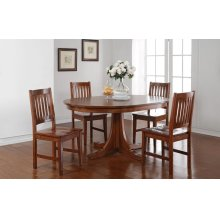 """6PC SET (66"""" Round Pedestal Table with 4 Cottage Rake Back Side Chairs)"""