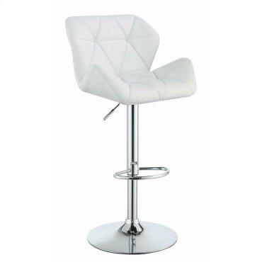 Contemporary White Adjustable Bar Stool