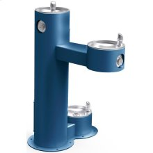 Elkay Outdoor Fountain Bi-Level Pedestal with Pet Station, Non-Filtered Non-Refrigerated Blue