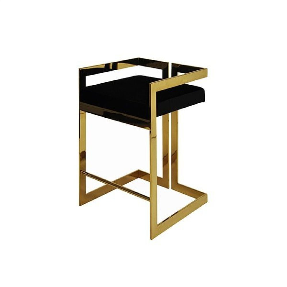"""Counter Height Brass Stool With Black Velvet Cushion - Seat Height: 27"""""""