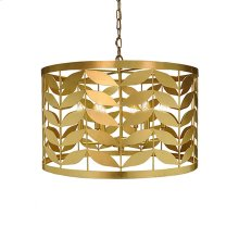 Large Leaf Motif Drum Pendant In Gold Leaf