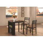 Casual Black and Chestnut Three-piece Dining Set Product Image