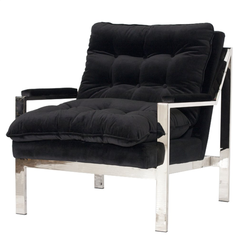 Nickel Plated Arm Chair W. Black Velvet Cushions