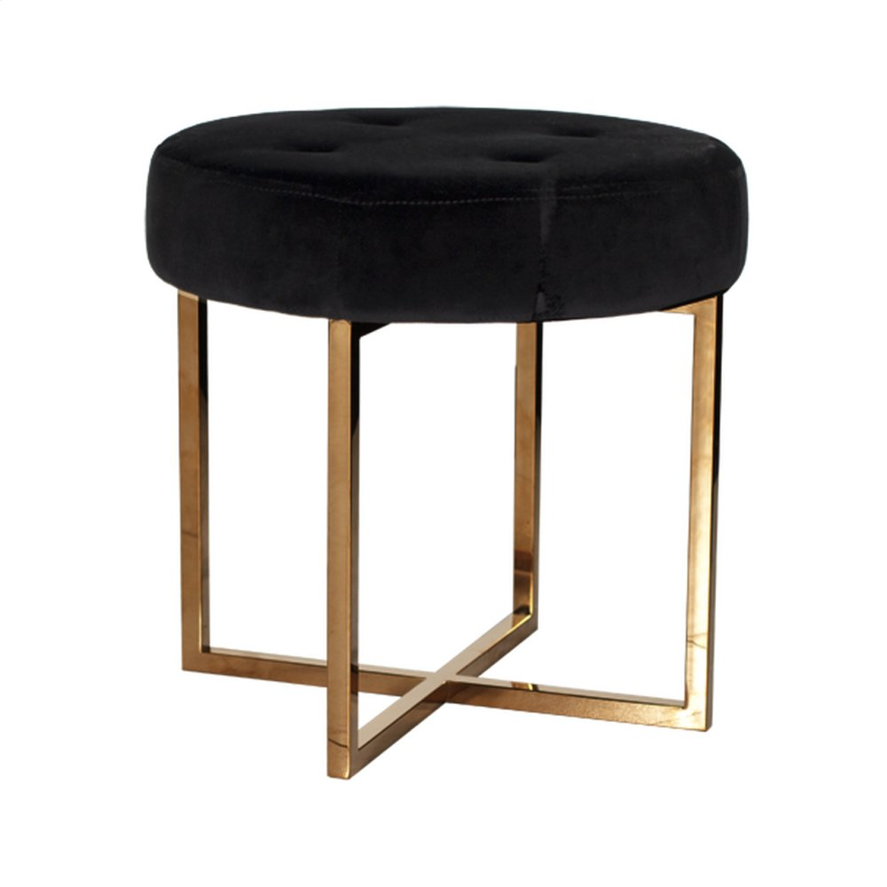 Black Velvet Round Stool With Brass Base