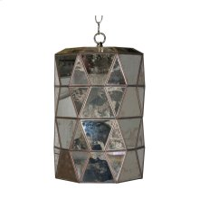 Small Antique Mirror Glass Faceted Pendant. Uses Single 60w Bulb. 3' Matching Chain Included. Additional Chain May Be Purchased Upon Request.