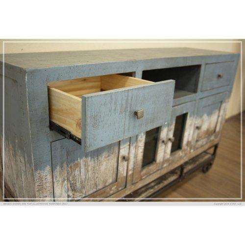 2 Drawer, 4 Door, TV Stand Blue Finish
