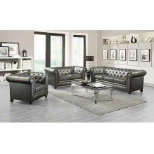 Roy Traditional Gunmetal Grey Button-tufted Sofa