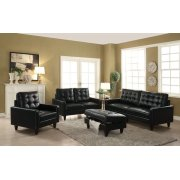 BLACK LEATHER GEL OTTOMAN Product Image