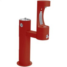 Elkay Outdoor ezH2O Bottle Filling Station Bi-Level Pedestal, Non-Filtered Non-Refrigerated Freeze Resistant Red