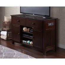 Nantucket 2 Drawer 50 inch Entertainment Console 30x50 with Adjustable Shelves and Charging Station in Espresso