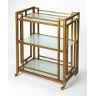 This classic, modern bar cart will transform any space into a sophisticated cocktail bar area. Its all metal frame boasts an inviting antique gold finish with frosted glass shelves. Its matching gold finished casters provide easy mobility from one space t Product Image