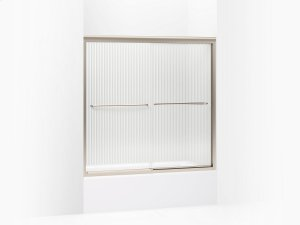 "Falling Lines Glass With Anodized Brushed Bronze Frame Sliding Bath Door, 58-5/16"" H X 56-5/8 - 59-5/8"" W, With 1/4"" Thick Falling Lines Glass Product Image"