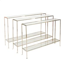 Nickel Plate Console With Clear Glass Shelves.