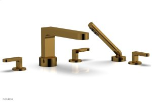 ROND Deck Tub Set with Hand Shower - Lever Handles 183-49 - French Brass Product Image