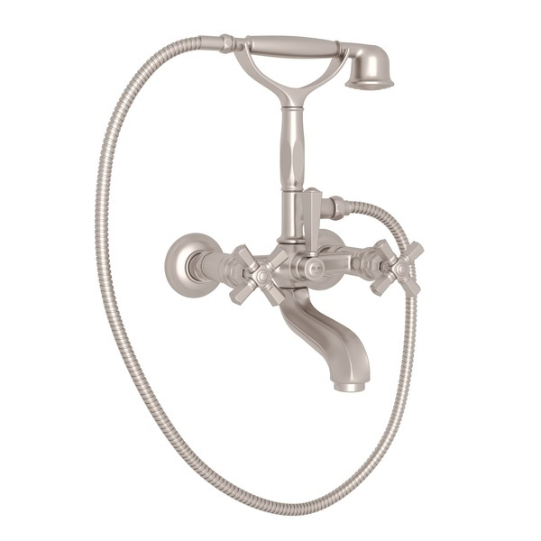 Satin Nickel Palladian Exposed Tub Set With Handshower with Cross Handle