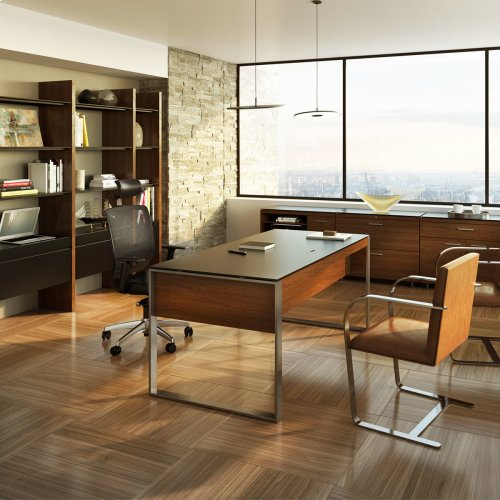 Executive Desk 6021 in Natural Walnut