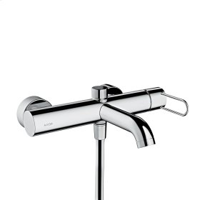 Polished Black Chrome Single lever bath mixer for exposed installation with loop handle