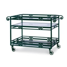 Augustine Metal Bar Cart W/ Tempered Glass