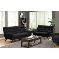 Natalia Mid-century Modern Black Two-piece Living Room Set Product Image