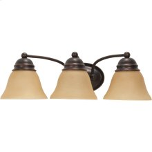 3-Light Wall Mounted Vanity Light Fixture in Mahogany Bronze Finish with Champagne Linen Glass