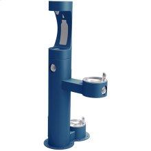 Elkay Outdoor EZH2O Bottle Filling Station Bi-Level, Pedestal with Pet Station Non-Filtered Non-Refrigerated Blue