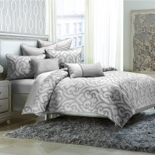 8pc King Comforter Set Silver