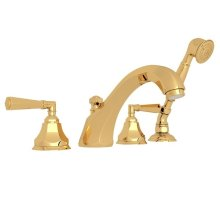 Italian Brass Palladian 4-Hole Deck Mount Tub Filler With Handshower with Metal Lever