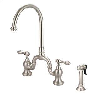 Banner Kitchen Bridge Faucet with Metal Lever Handles - Brushed Nickel Product Image