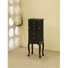 Traditional Queen Anne Black Jewelry Armoire